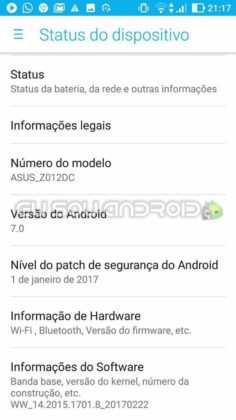 Status do dispositivo ROM Tizen