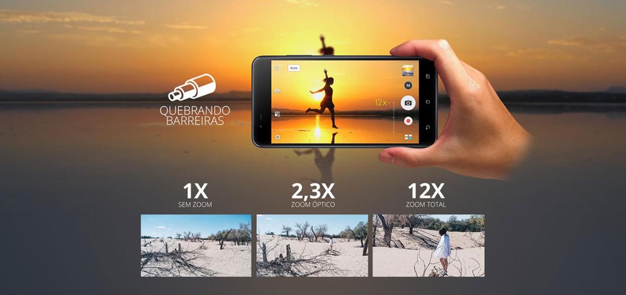 imagem camera zenfone 3 zoom mostrando mulhes na praia ao por do sol e comparando o zoom de cada uma das 2 cameras