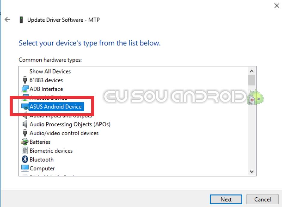 lista de dispositivos para selecionar o driver para o zenfone 3