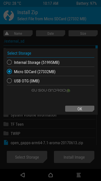 TWRP Select Storage