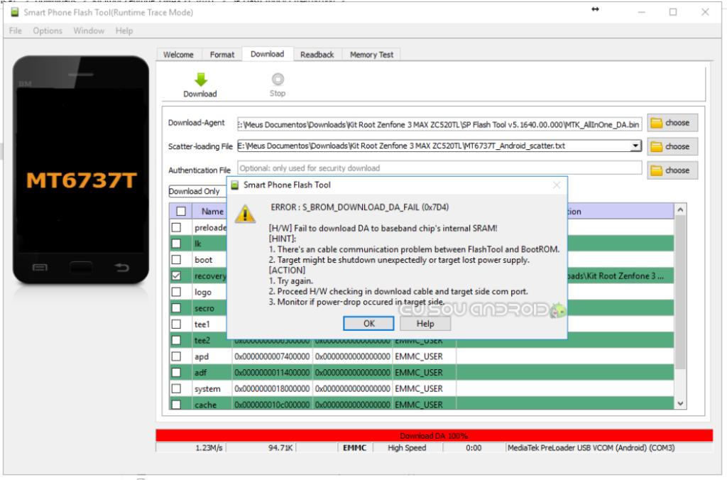 erro sp flash tools ERROR S_BROM_DOWNLOAD_DA_FAIL 0x7D4