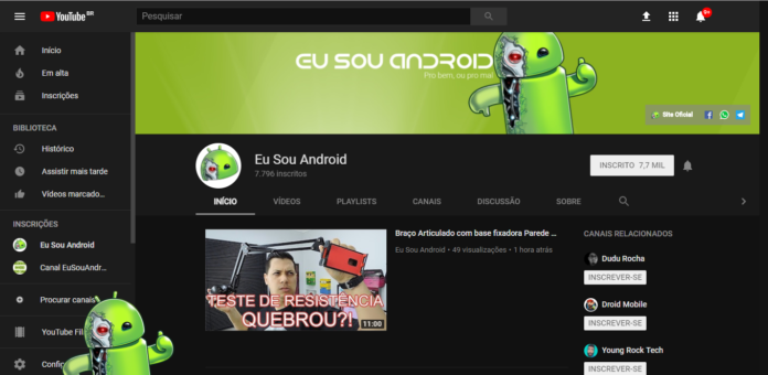 Deixe seu YouTube com o Tema Escuro