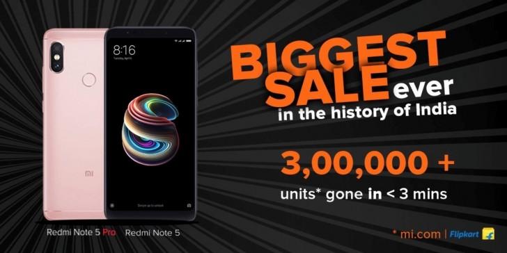 Mais de 300000 unidades do Xiaomi Redmi Note 5 Pro Foram Vendidas em Menos de Três Minutos!