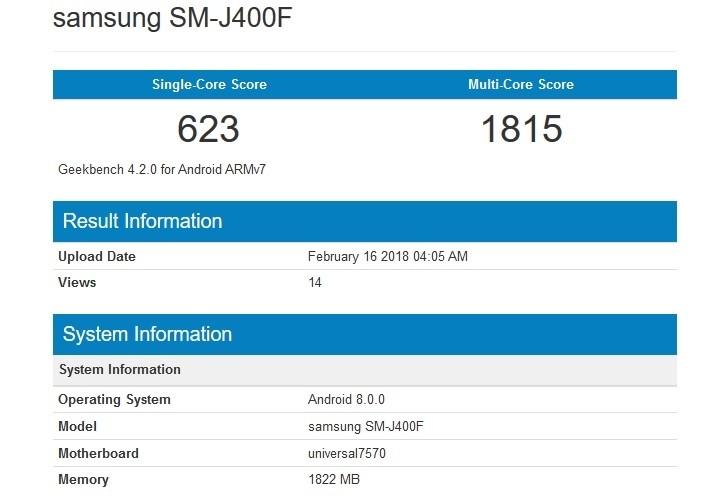 Samsung Galaxy J4 Aparece no Benchmark