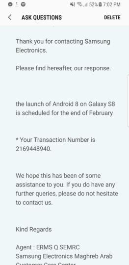 A atualização do Samsung Galaxy S8 para Oreo Pode não Chegar em fevereiro