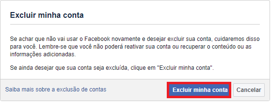 Como excluir uma conta do Facebook permanentemente