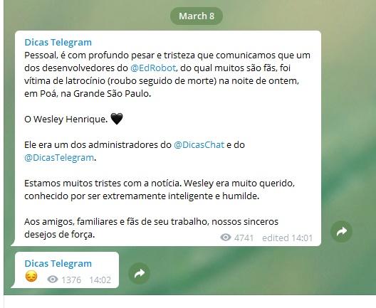 mensagem telegram