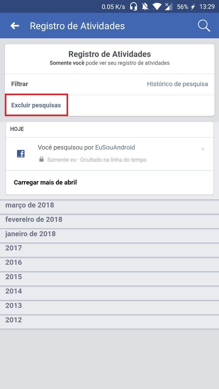 Como Limpar Histórico de pesquisas do Facebook
