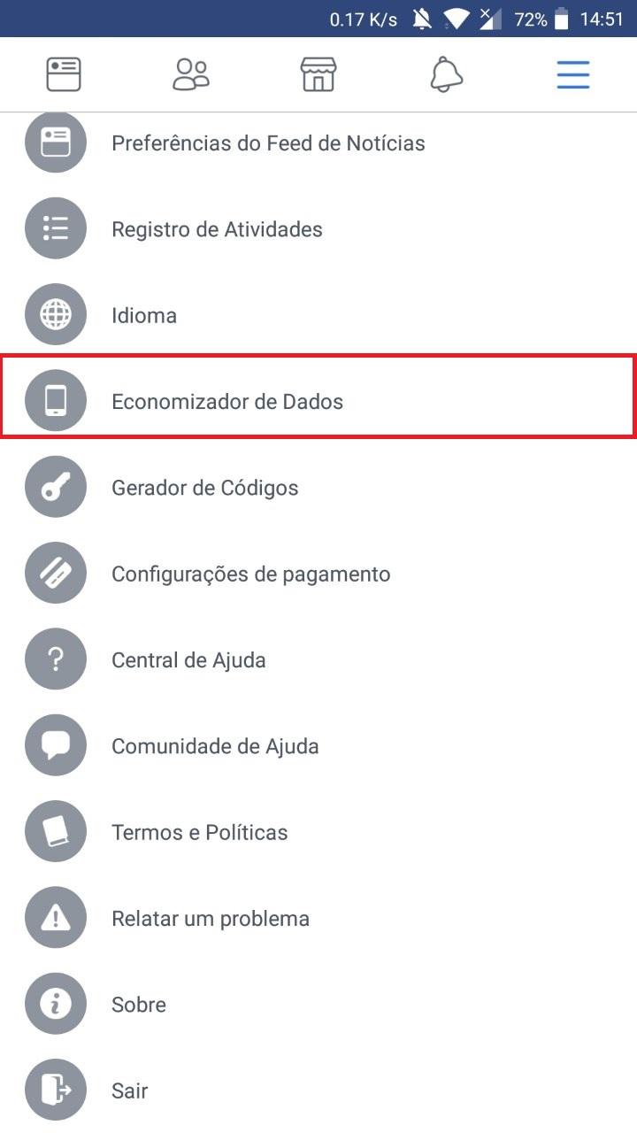 Economize dados no aplicativo do Facebook
