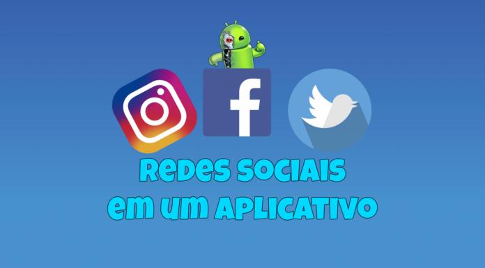 Facebook Twitter e Instagram em um aplicativo