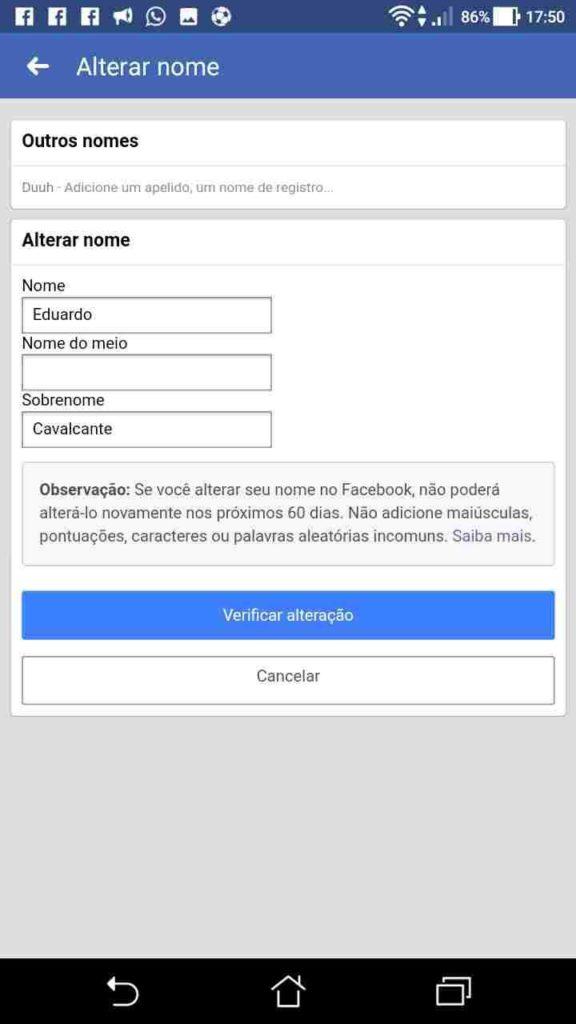 Facebook: Como mudar o Nome e Adicionar Apelido