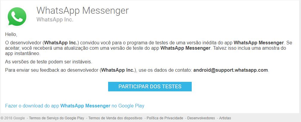 Se torne um testador beta do WhatsApp