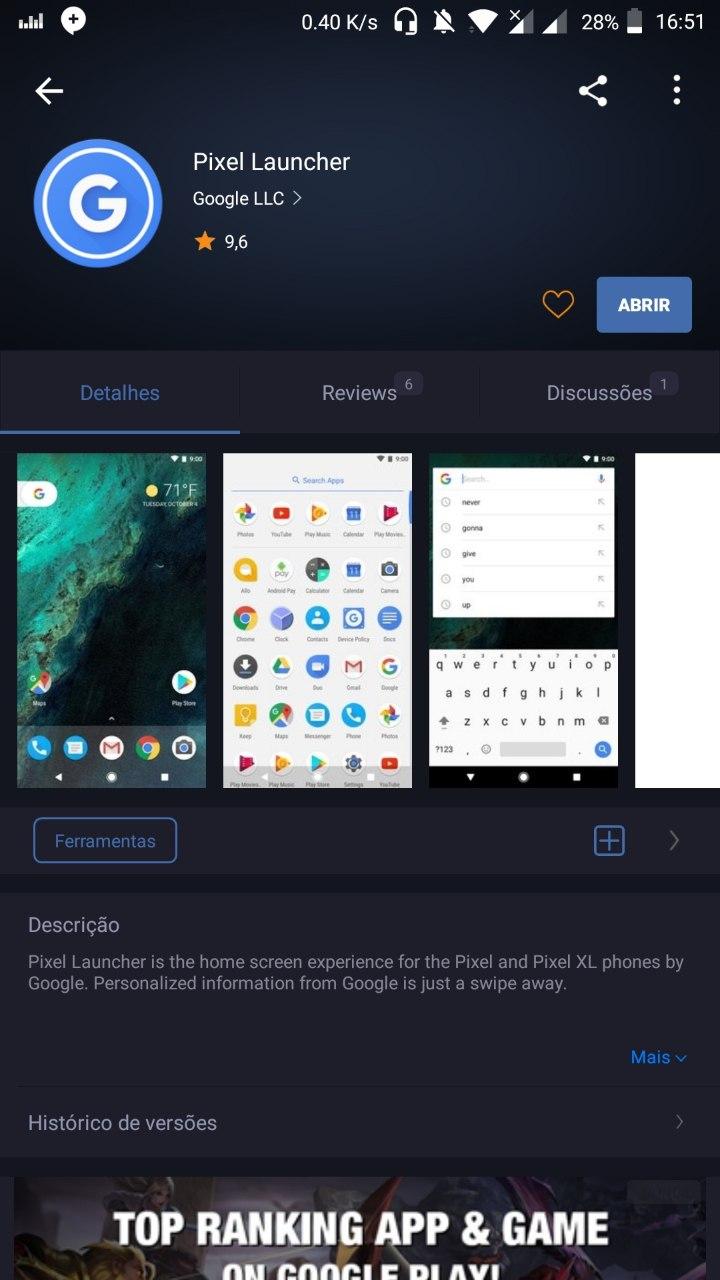 Baixe a Pixel Launcher em seu Android