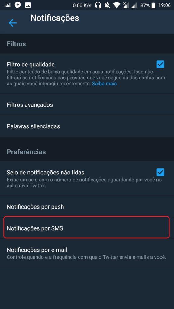 Como receber notificações do Twitter através de SMS