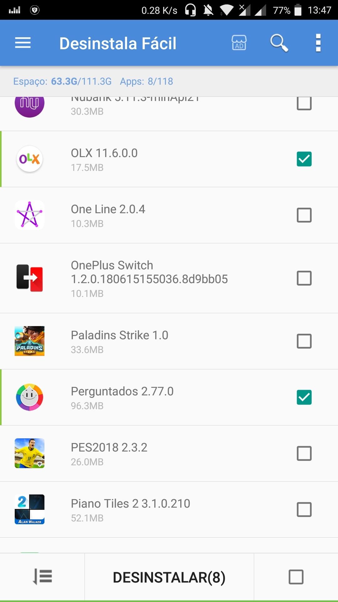 Desinstalar vários aplicativos de uma só vez