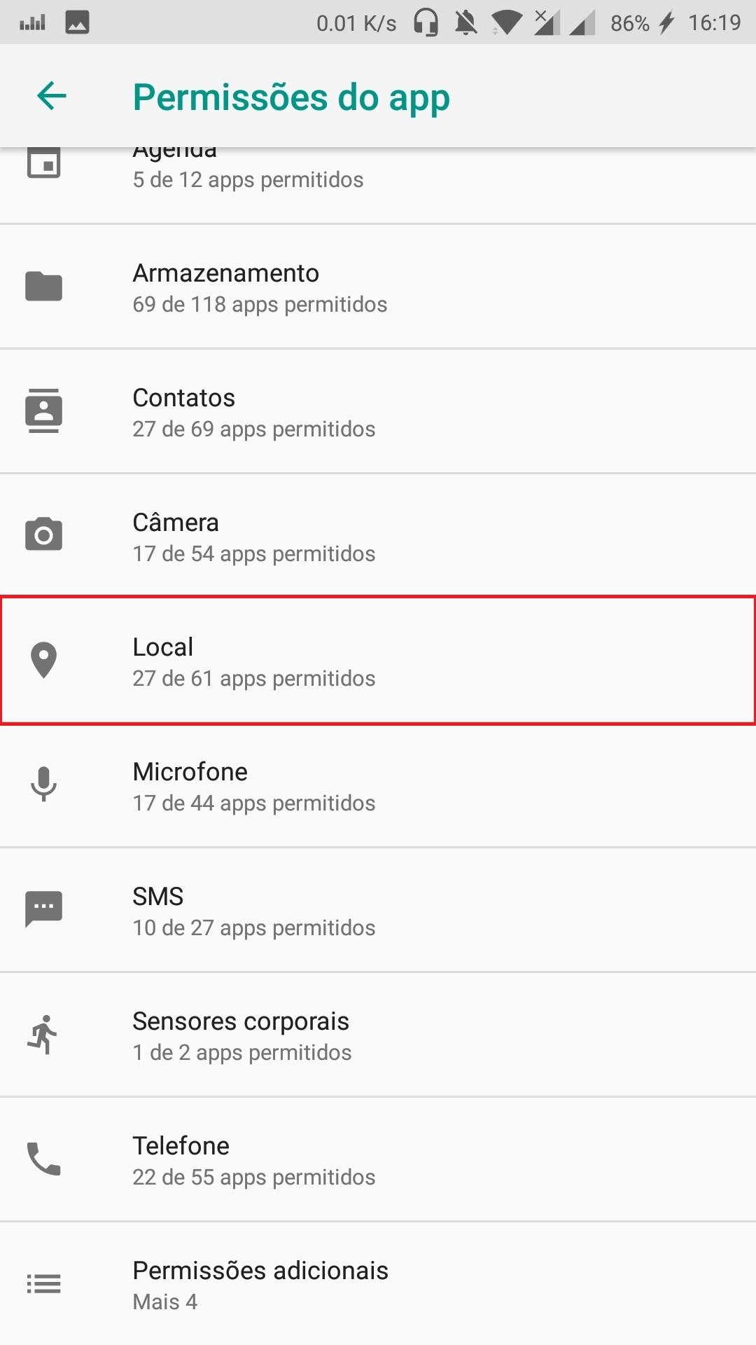 Impedir que aplicativos acessem sua localização