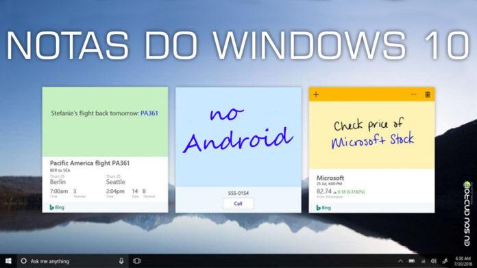 Notas do Windows 10 ganhará versão para Android capa