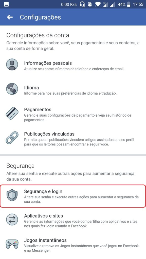 como alterar a senha do Facebook