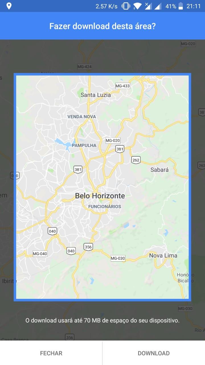 Navegar offline com o Google Maps