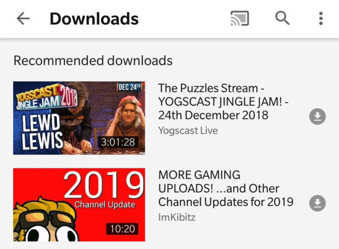 Youtube está recomendando download de vídeos para assistir offline