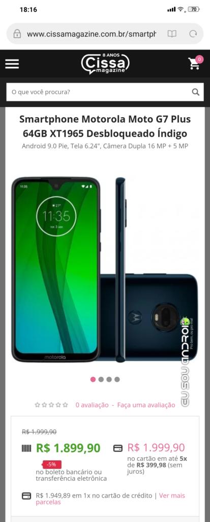 Loja Vaza preço do Moto G7 aparece em site de compra nacional antes de ser lançado oficialmente eu sou android