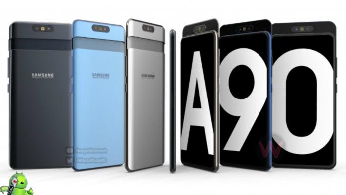 Samsung Galaxy A90 aparece em vídeo mostrando controle deslizante com uma câmera rotativa