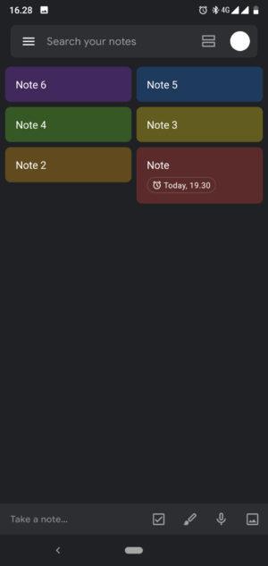 Google Keep e Calendário do Google