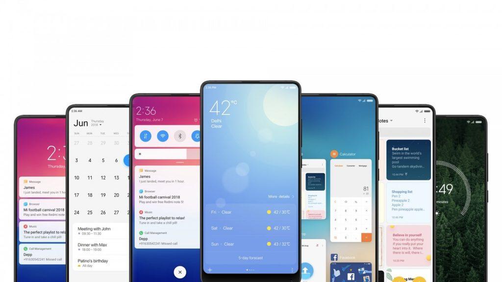 Coisas Que Você Precisa Saber Antes de Comprar um Xiaomi - imagem com várias telas da MIUI como notificações, calendário, tempo, multitarefa.