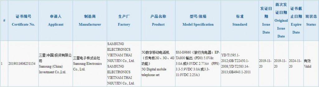 Galaxy S11 virá com carregamento rápido