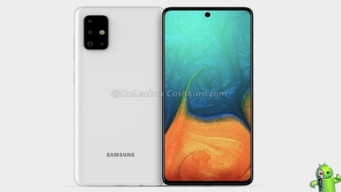 Samsung Galaxy A71 aparece em renderização com câmera quadrangular e display infinito