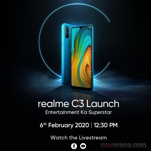 Realme C3 será lançado no dia 6 de fevereiro