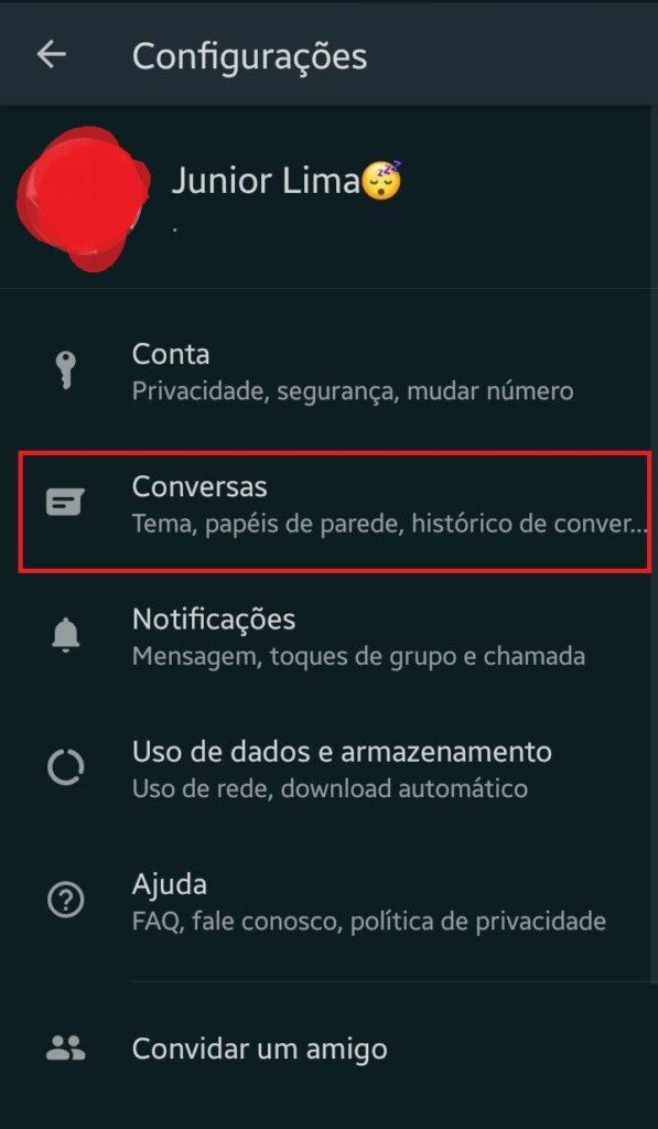 WhatsApp beta com modo escuro