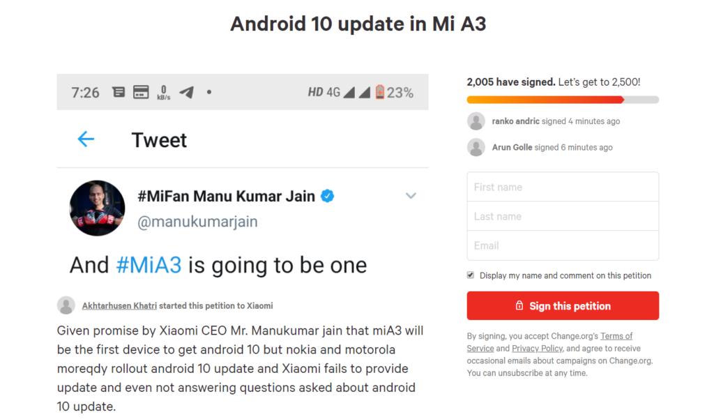 Xiaomi Mi A3 ainda não recebeu a atualização para o Android 10