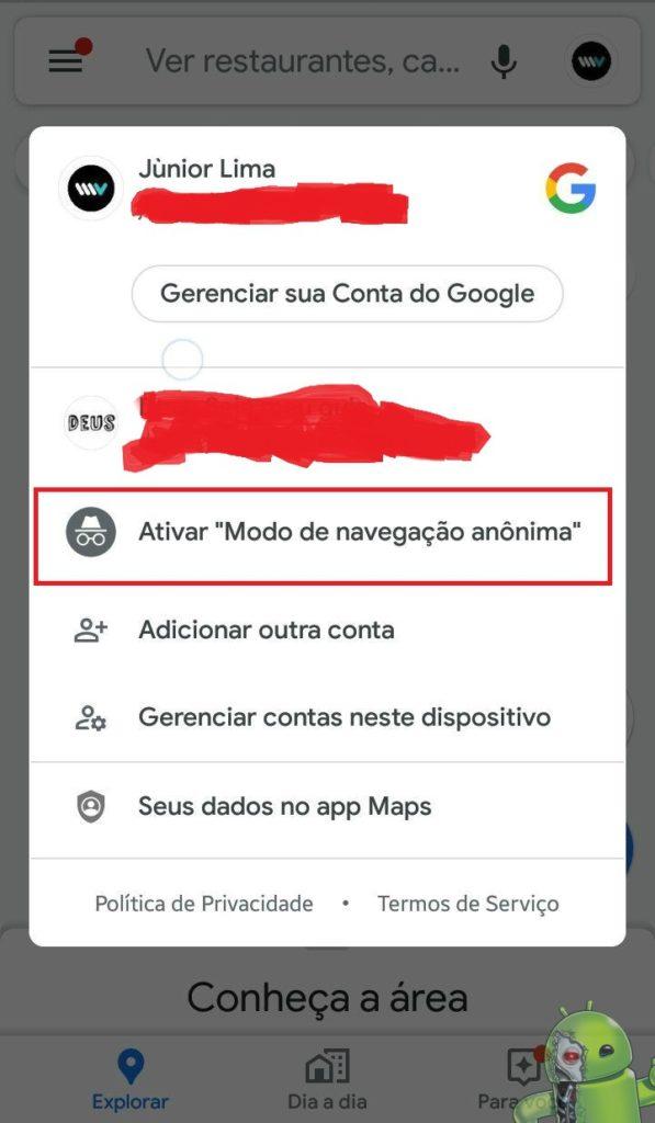 forma fácil de ativar o modo anonimo no google maps para Android