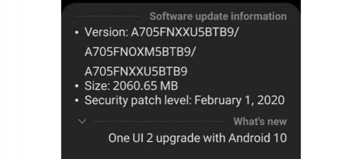 Galaxy A70 recebendo o Android 10