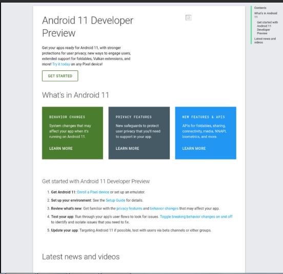 Página do Android 11 foi vazada acidentalmente pelo Google