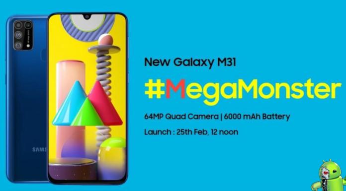 Samsung Galaxy M31 será Lançado dia 25 de Fevereiro com bateria de 6.000 mAh