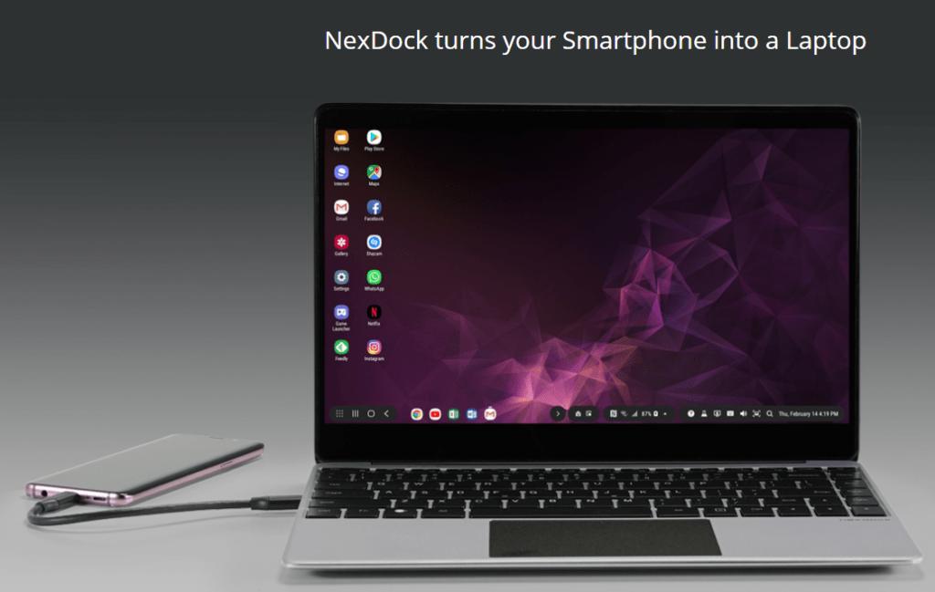 Galaxy S20 conectado ao NexDock