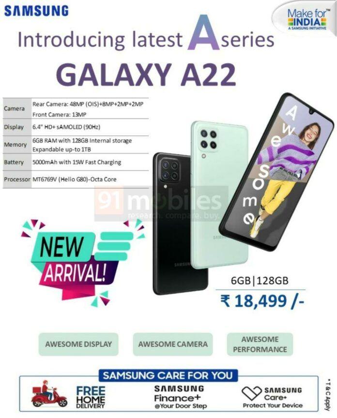 Galaxy A22 tem preço vazado na índia