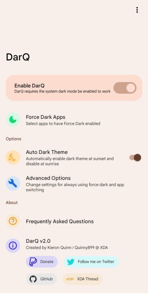 Modo escuro do Android 12