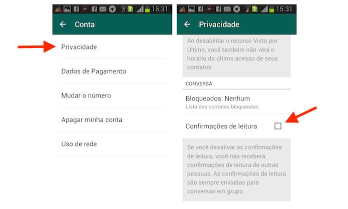 Como desativar a função visto por ultimo no WhatsApp 1